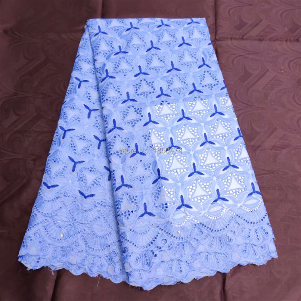 Polyester Cotton Swiss Voile Lace In Switzerland New Blue Embroidered Eyelet African Nigerian Dry Lace Fabric
