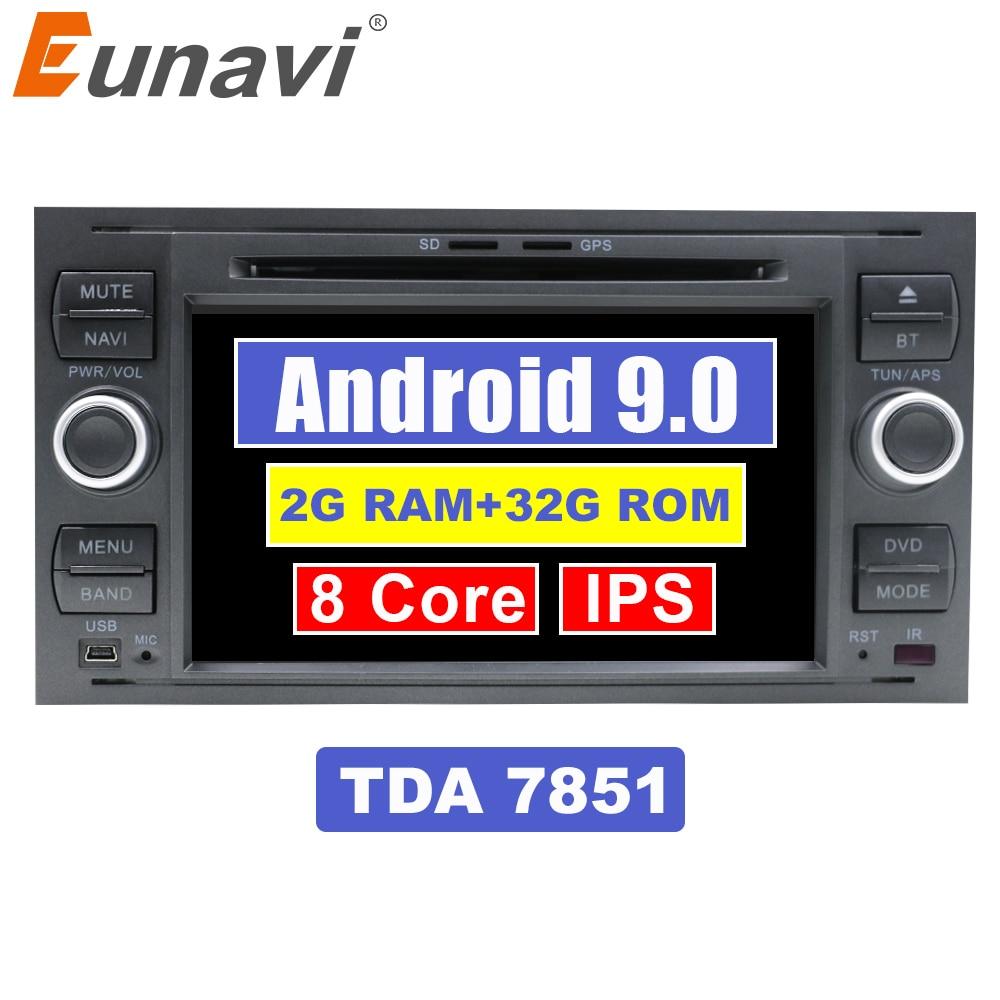 Eunavi IPS Android 9.0 2 din DVD de voiture pour Ford Mondeo s-max Focus C-MAX Galaxy Fiesta transit Fusion lecteur multimédia 2G + 32G