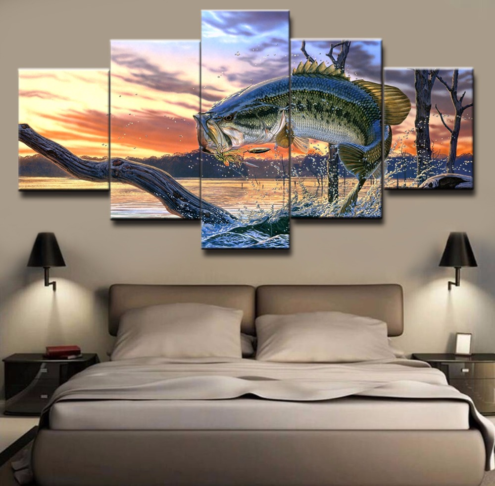 5 Piece Modular Home Decor Wall Art Bass Jumping Out Of Water Paintings on Canvas Wall Art for Home Decorations Wall Decor