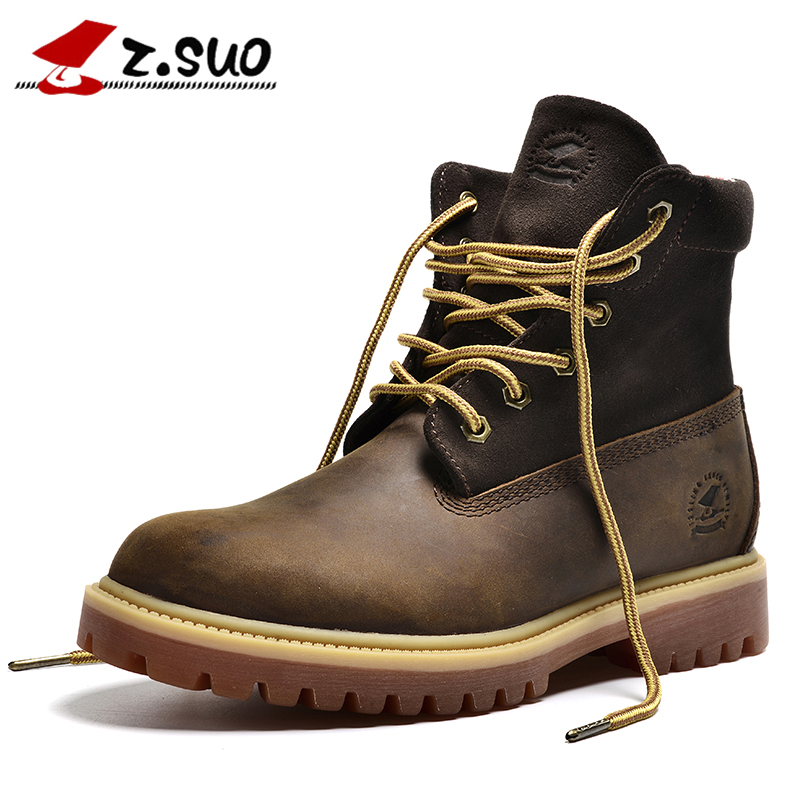 ZSUO Brand Genuine Leather Men Boots Cow Suede Leather Boots Men Military Desert Ankle Boots Brown Fashion Men Shoes Botas Hombr
