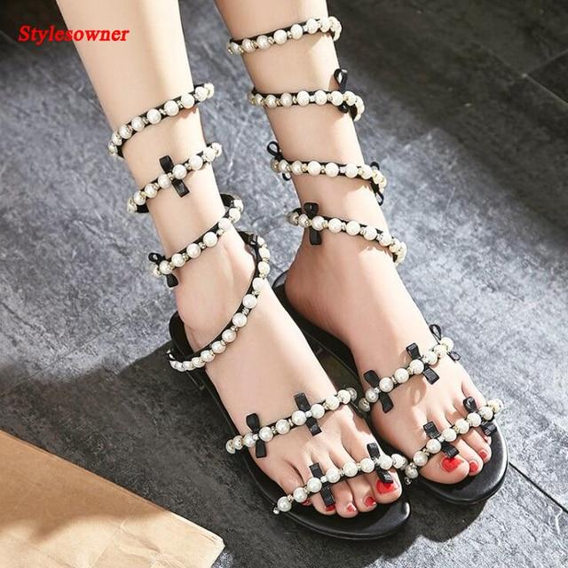 d71675549e Stylesowner mais recente estilo lady doce pérola plana sandália linda  borboleta botas sandália verão strass venda
