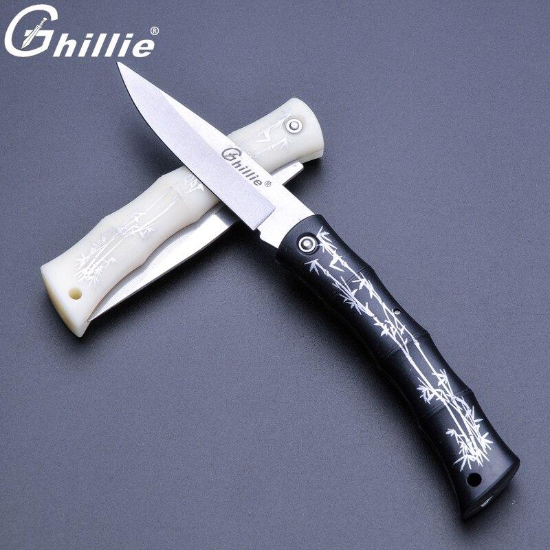 326 Ghillie Marque Couteau Pliant Bambou Modèle Poche Couteau Camping Survie Tactique Pas Cher Cuisine Couteau à La Main Extérieure Outils