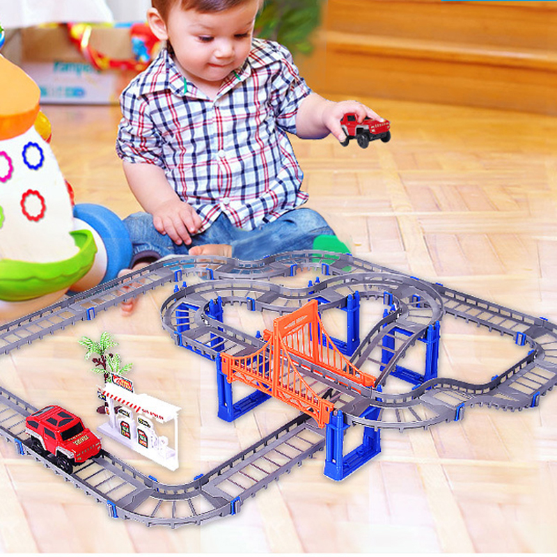 73PCS DIY 3D Electric Rail Car Train Track Multilayer Construction Vehicles Model Assemble Educational Toys Gift For Kids Child
