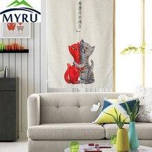 MYRU Adorable cartoon cat door font b curtain b font Feng Shui bedroom kitchen bathroom partition