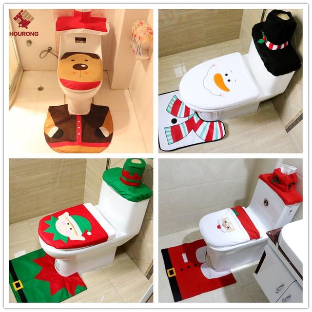 1 Set Di Natale Toilet Seat Cover Toilet Seat Mat Bagno Set Partito Decorazioni