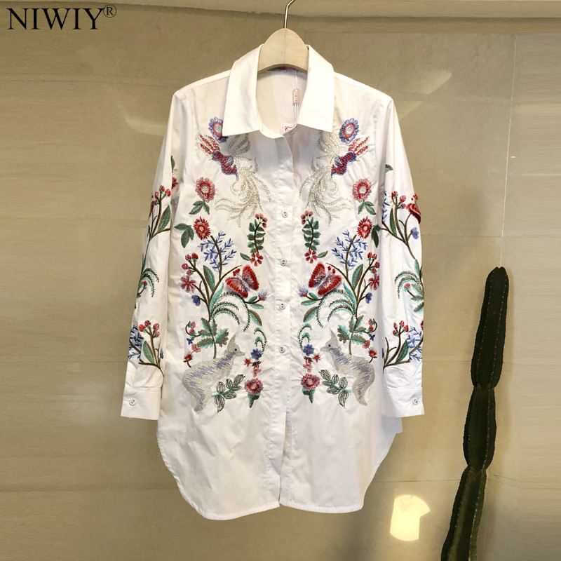 NIWIY marque femmes été revers fleur broderie chemise femmes hauts et chemisiers blusas mujer de moda 2019 chemise à manches longues N9213