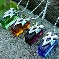 4 Pçs/lote Cosplay Encantos Espada de Arte Em Linha SAO Kirito Asuna Yuki Encantos Pingente de Colar de Cristal Conjunto de Coleta de Transferência de Cristal
