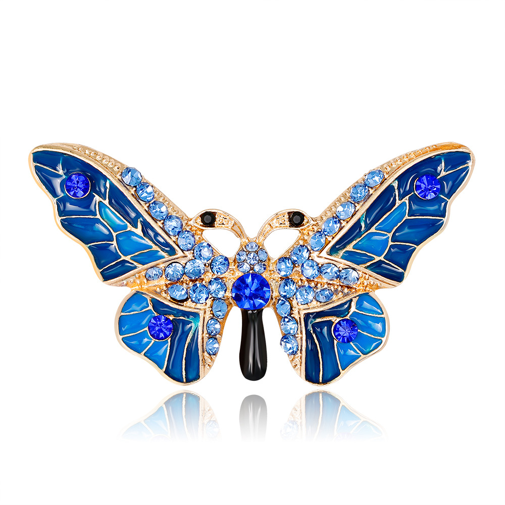 LARGE Butterfly Insect Bug Gold BLUE BLACK ENAMEL Rhinestone Brooch Pin W