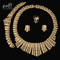 2016 Folli Fashion Dubai Gold Plated Jewelry Set Nigerian Wedding African Beads Earrings Necklace Bracelet Ring Set New Women