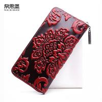 2018 New Women Genuine Leather Wallets Designer Brands Quality Fashion Embossing Zipper Long Womens Wallets Leather