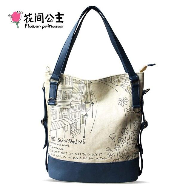 Flower Princess Women Canvas Shoulder Bags Large Capacity Handbags Tote High Quality Ladies Tote Bag Teenager Girl School Bag