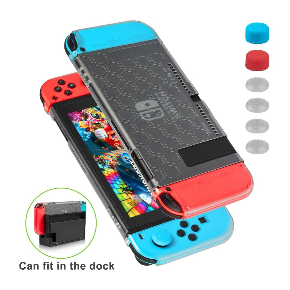 Keten 9 in 1 Slim Protective Anti Scratch Dockable Silicone Cover Case Skin for Nintend Switch and Joy-Con Controller game case Keten 9 in 1 Slim Protective Anti Scratch Dockable Silicone Cover Case Skin for Nintend Switch and Joy-Con Controller game case
