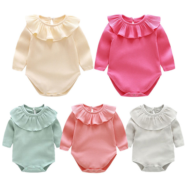 410ed708f Newborn Infant Baby Girls Bodysuit Cotton Long SLeeve Ruffles Collar Baby  Girls Clothes
