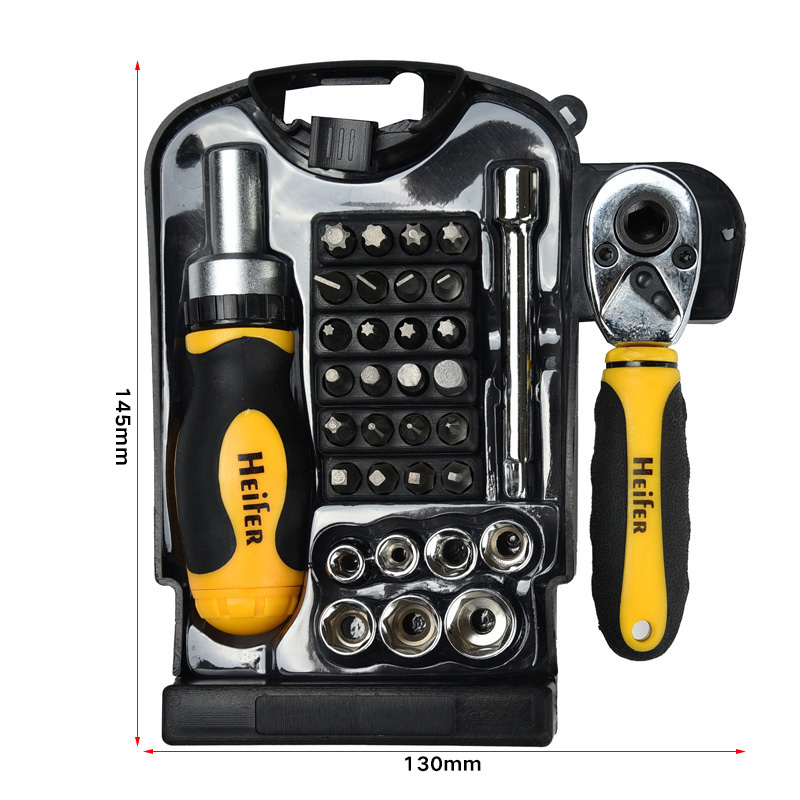 34pcs Multi function Ratchet Wrench Spanner Repair Tool 1 4 quot Drive Short Handle Sleeve Electric Screwdriver Kit Repair in Hand Tool Sets from Tools