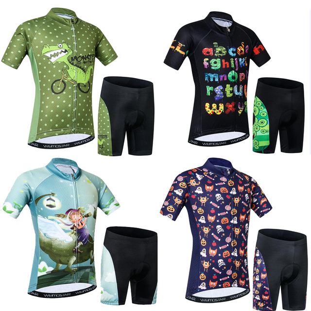 920aecf58 Kids Cycling Jersey Set Cartoon Short Sleeve Bike Top For Boy Girl With  Padded Shorts Children MTB Bike Bicycle Ropa Ciclismo