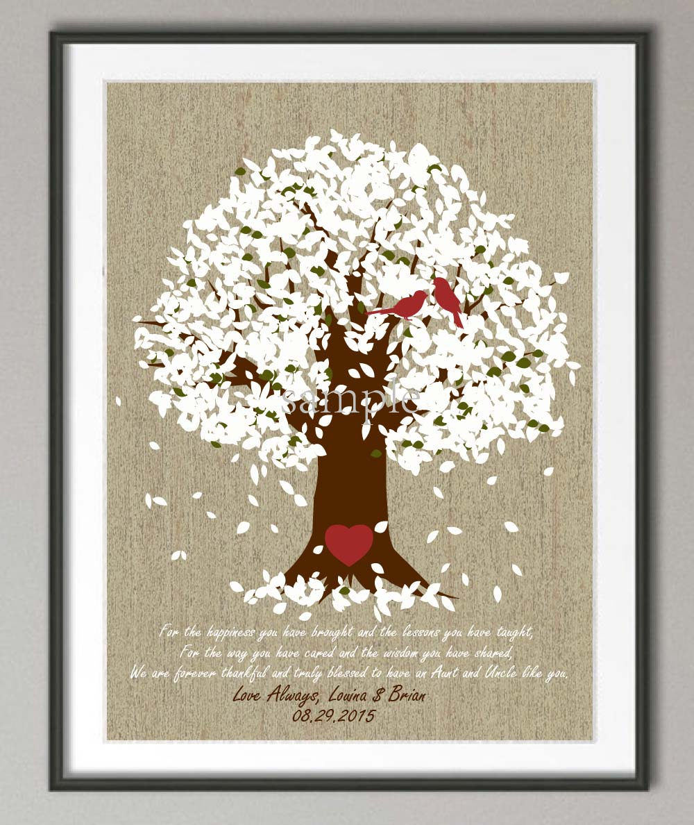 Wedding Gift Wall Art : Wedding gift for aunt and uncle canvas painting Family tree wall art ...