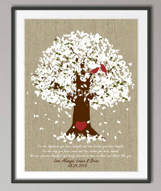 Personalized aunt u0026 uncle Wedding gifts canvas painting Family tree Quote wall art poster print pictures  sc 1 st  AliExpress.com & Personalized aunt u0026 uncle Wedding gifts canvas painting Family tree ...