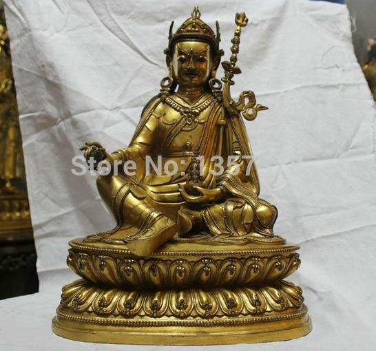 Shitou 00159 Chinese Buddhism Ming Dynasty Yongle Gold Bronze Padmasambhava Buddha Statue