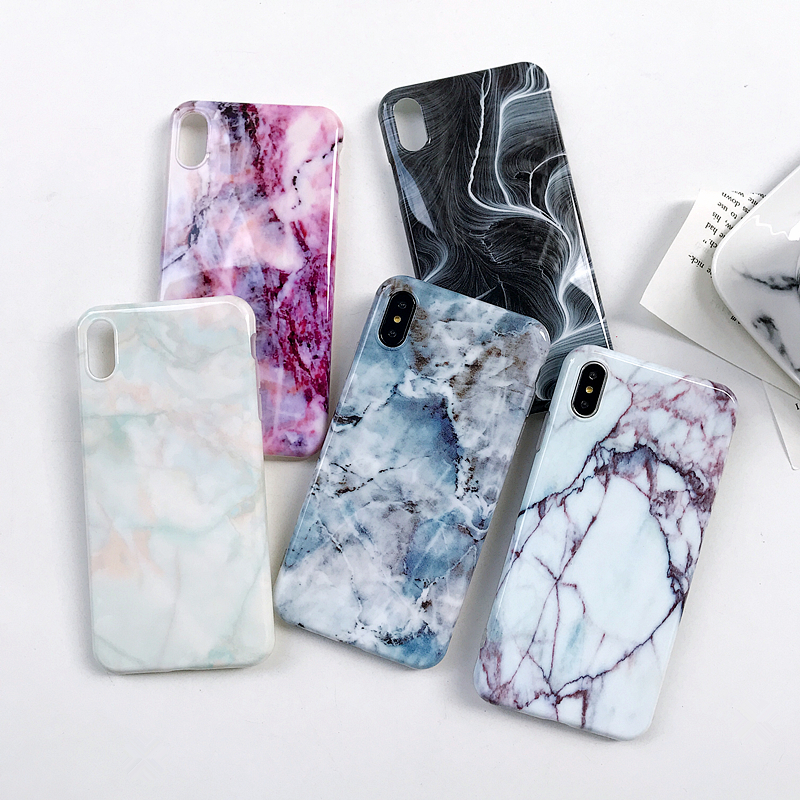 OUJINUO Luxury Marble Case For iPhone XS Max XR X Case Silicone TPU Glaze Back Cover For iPhone 7 8 6 6s Plus Coque Fundas Capa