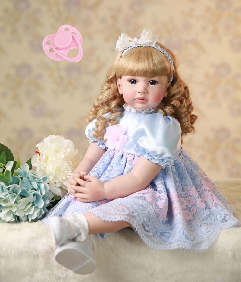 60 cm Silicone Reborn Baby Doll Giocattoli 24 pollici In Vinile Principessa Della Ragazza Del Bambino I Bambini Bambola Regalo Di Compleanno Casa del Gioco Del Giocattolo come Alive Bebe