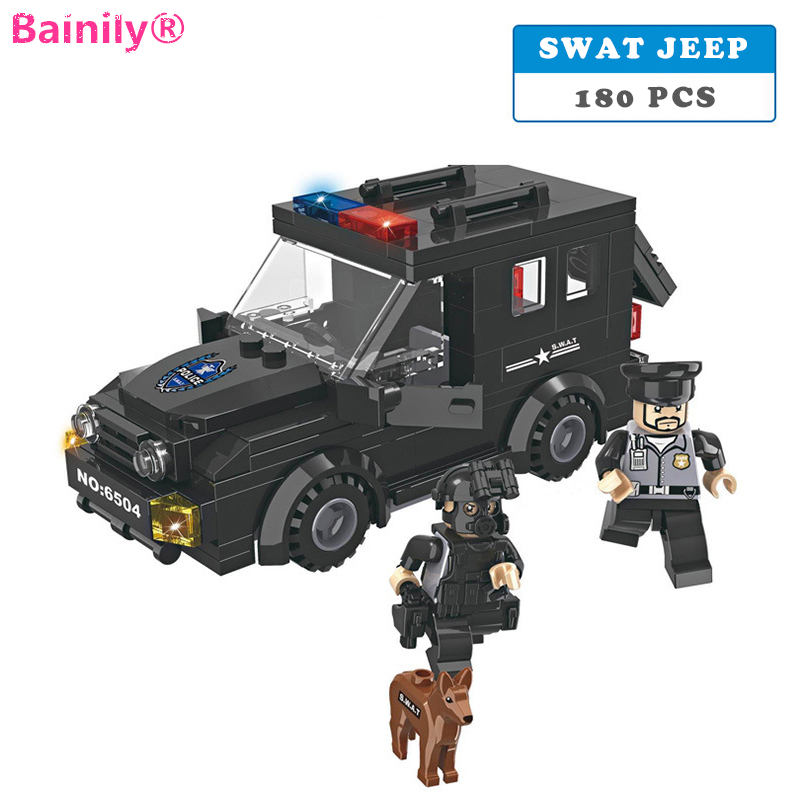 [Bainily]180pcs Police station SWAT Armored car jeep With Weapons Military Series 3D Model Dog Building Blocks City Boy Toys police pl 12921jsb 02m