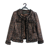 Urumbassa O neck women tweed coat Fashion ladies jackets elegant OL S255