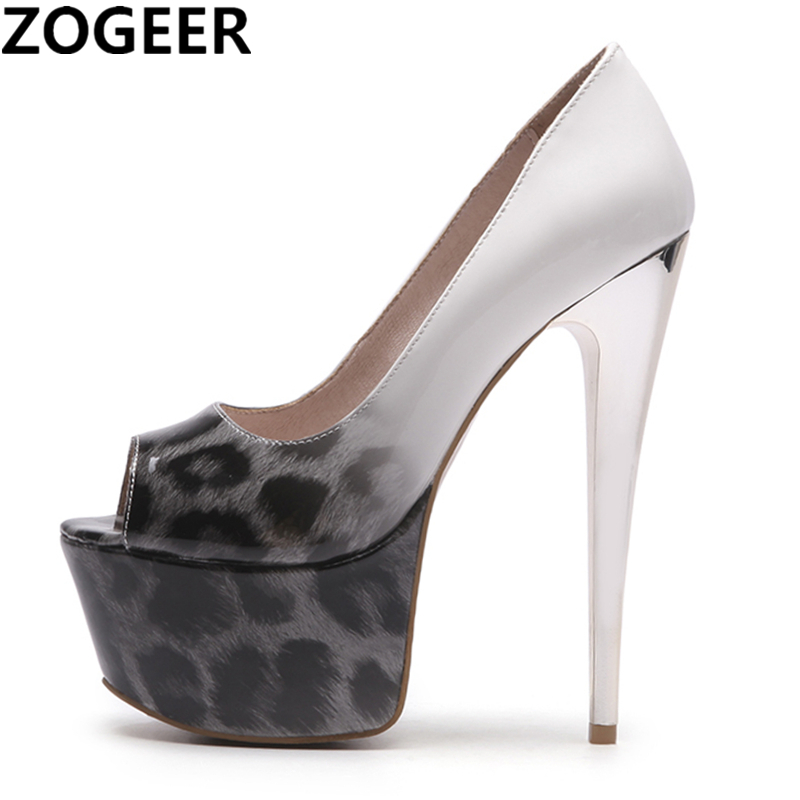 Plus Size 48 Sexy Leopard Pumps Women Fetish Concise Woman Pumps Platform Super 16cm High Heel