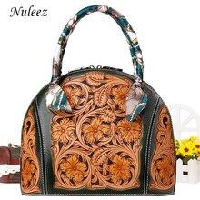 Nuleez из натуральной кожи мешок женщин Уникальный дизайн человек вырезать цветок изысканную рисунок старинный сумки женщин 2018 классический