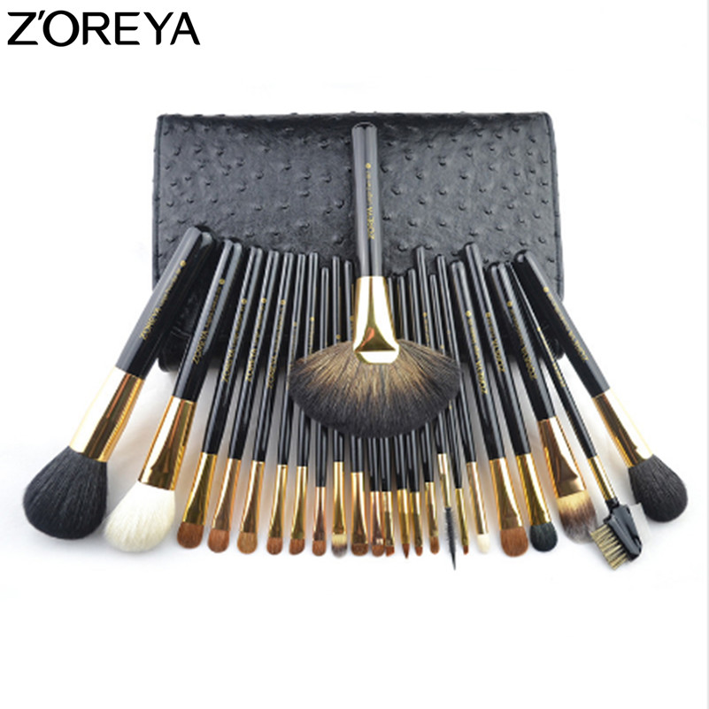 ZOREYA Brand Sable Hair 24pcs Makeup Brushes Set Professional As Make Up Tool For Beauty Woman Cosmetic Brush With Cosmetic Bag 32pcs black professional makeup brushes set cosmetic brush kit case make up brush kits makeup beauty face care tool for you