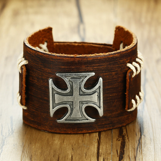 Brown Leather Cuff Bracelet With Iron Cross Charm Brackelts For Men Wristband Knight S Crucifix Adjule Male