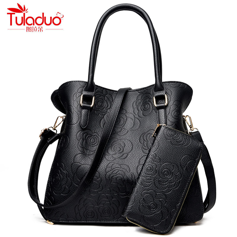 New Fashion Leather Women's Handbags With Purse Famous Brand TuLaDuo Ladies Shoulder Bags High Quality Print Rose Composite Bag 2016 hot sale high quality famous brand handbags crossbody bag ladies shoulder bag purse a total of 3pieces