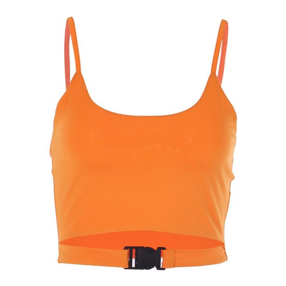 Fashion Bag Buckle Solid Color Women Summer Casual   Top   Sleeveless Camisole Vest