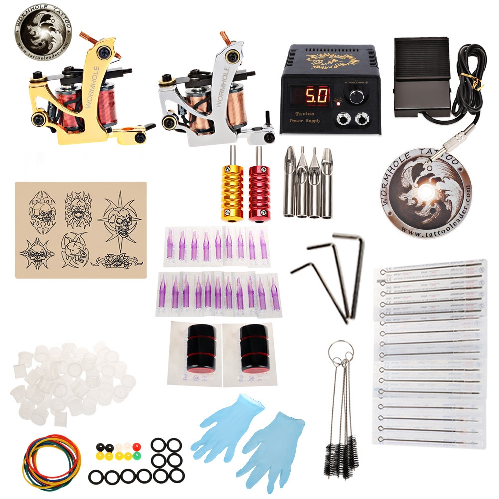 foreverlily Complete tatoo Kit 2 Machine Guns Shader Liner Needles Power Supply DIY Set Power Box Grip Tips US/UK/EU animal dolls complete diy kit assorted