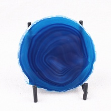 Agate Slice Cut Coaster High Quality Blue Purple Stone Transparent Natural Crystal Agate Decoration Beautiful Grain Stone цены