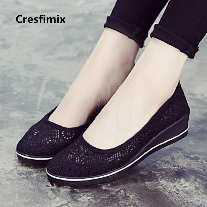 где купить Cresfimix sapatos femininas women fashion spring breathable flat shoes lady cute summer slip on shoes new nurse work shoes a431 по лучшей цене