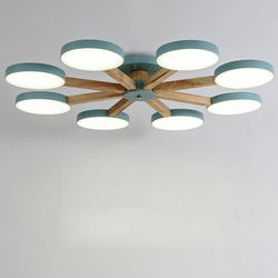 Nordic kolorowe lampy sufitowe led drewno atmosfera Plafonnier led do sypialni jadalnia nowoczesne proste Lamparas de techo