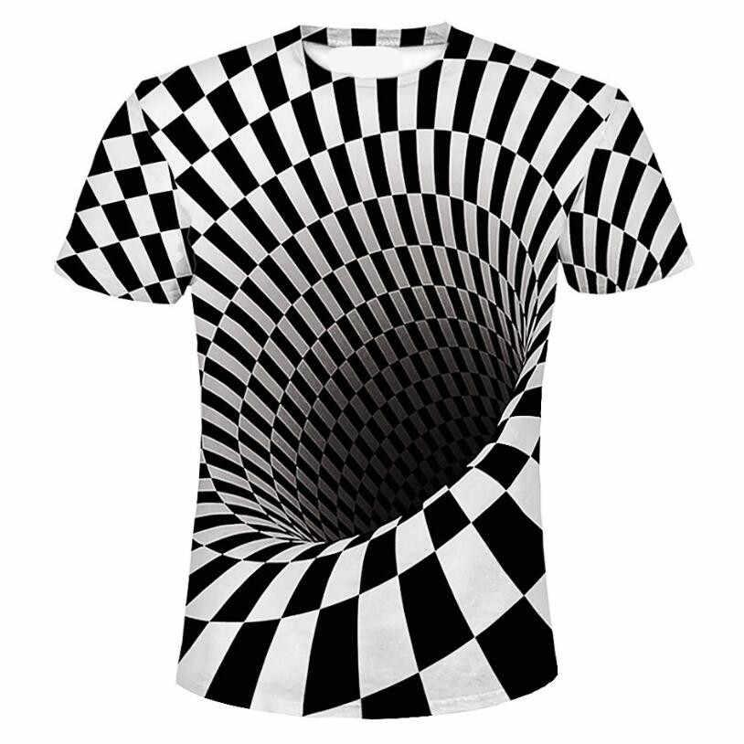 Terbaru Musim Panas Fashion Cetak Lengan Pendek Tee Pria Hitam dan Putih Vertigo Hipnotis Pencetakan Warna-warni 3D T Shirt S-6XL