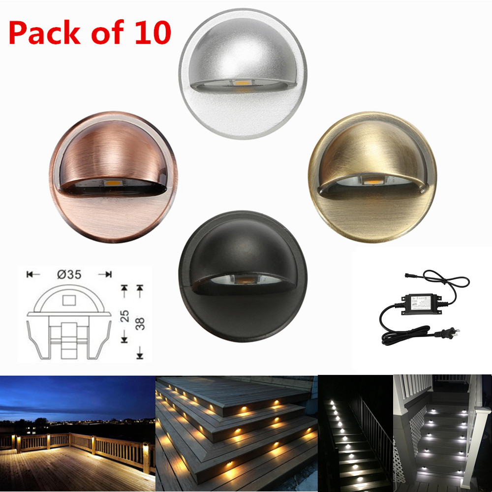 10PCS lot 35mm Half Moon LED Outdoor Garden Yard Landscape Fence Stair LED Deck Rail Step