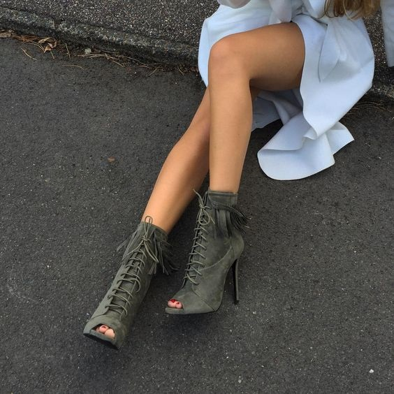best seller suede leather ankle boots women shoes fringe lace up thin high heel peep toe short boots fashion hot selling shoes front lace up casual ankle boots autumn vintage brown new booties flat genuine leather suede shoes round toe fall female fashion