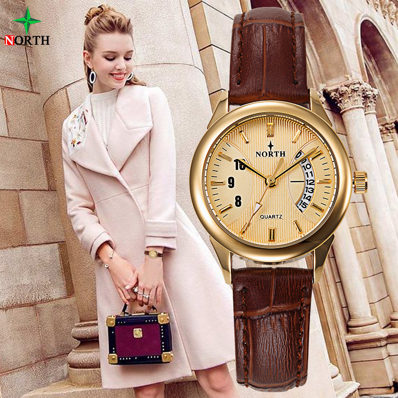 Women Dress Casual Watch 30M Waterproof Luxury Brand Quartz Female Watches Clock Ladies NORTH Gold Wristwatch relojes mujer 2017 weiqin new 100% ceramic watches women clock dress wristwatch lady quartz watch waterproof diamond gold watches luxury brand
