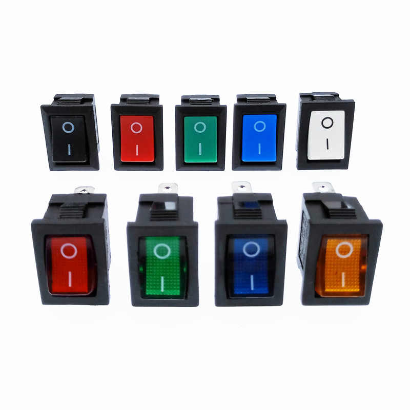 KCD1 Rocker Switch Power Switch 2 Posisi 2 Pin 3 Pin 4 Pin dengan Cahaya 10A 250 V Merah Biru hijau Kuning Hitam Putih