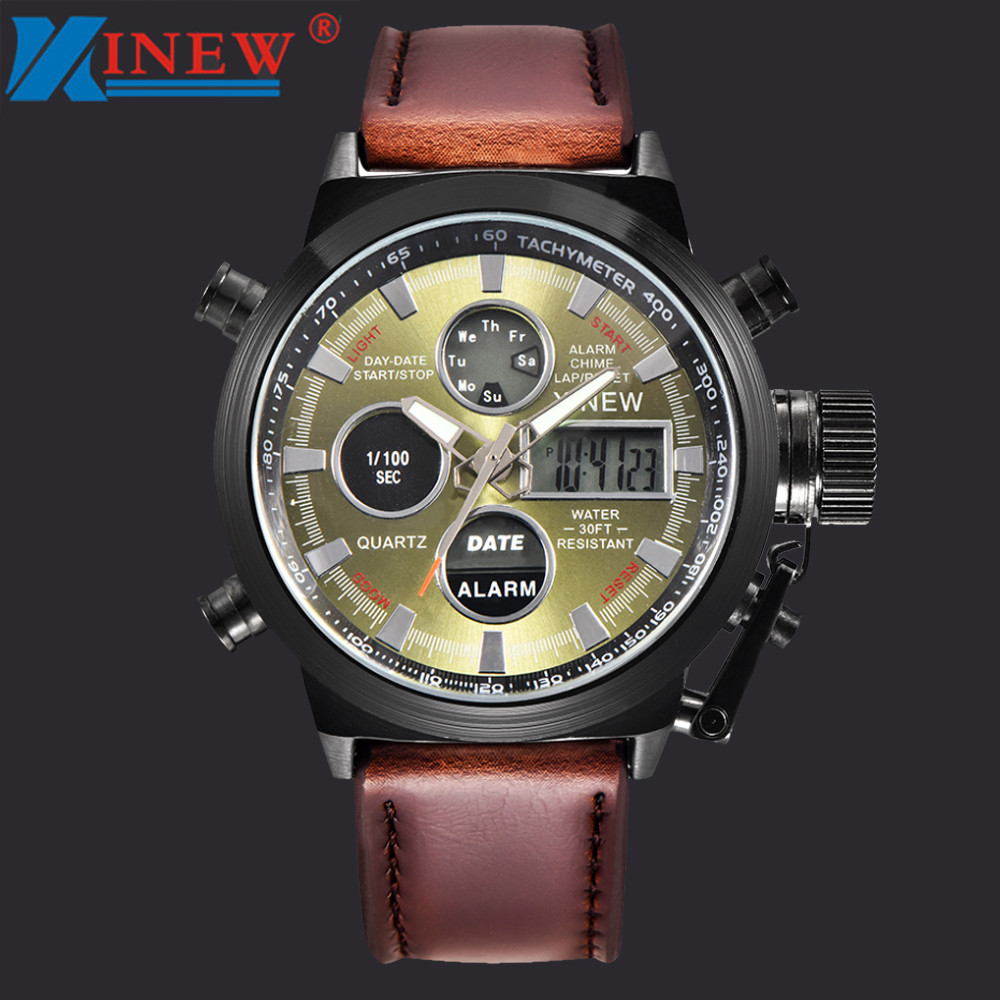 XINEW Mens Watch Business Quartz Sport Military Army Wrist Watches PU lLeather Band Waterproof Wrist Watch Relogio Masculino xinew fashion mens black stainless steel round dial date quartz analog sport wrist watch silicone band army military watch reloj