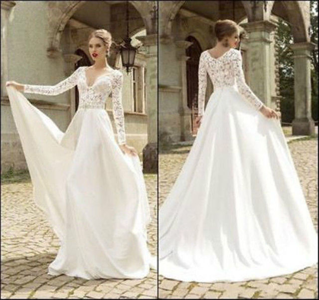 Simple Long A Line Cap Sleeve Train Lace Wedding Dresses: 2016 New Long Sleeve Lace Wedding Dress Bridal Gowns Sexy