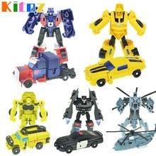 Kitoz Transformation Series Mini Robot Car Action Figure Model Deformation Plastic Toy Gift for Boy Children