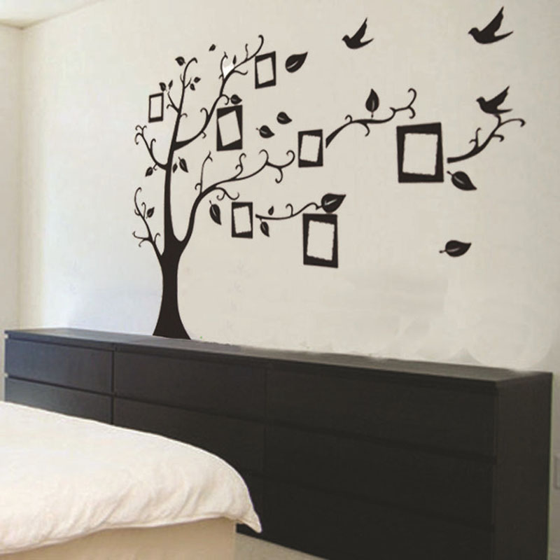 Aliexpress.com : Buy 2017 New 3D DIY Family Tree PVC Wall Sticker For  Living Room Mural Black Poster Vintage Home Decor Photo Fame Tree Art  Decals From ... Part 80