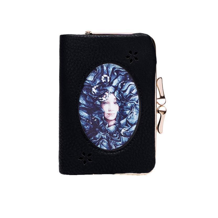 Vintage Coin purses Student Leather Tighten Up Black Coin Wallet Women Purse Flap Versatile Cute Small Clutch Bolsa feminina