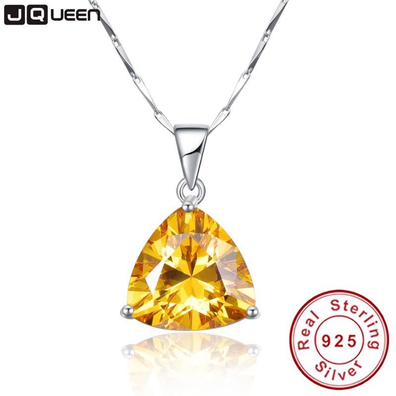 9.35Ct citrine medál nyaklánc 925 ezüst lánc Geometriai háromszög nyakláncok és medálok Ékszer gallér Colar de Plata