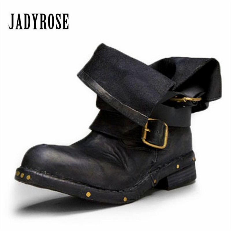 Jady Rose Vintage Cow Leather Women Ankle Boots Black Brown Round Toe Thick Heel Rubber Flat Booties Rivets Studded Martin Boot women ankle boots medium heel genuine leather booties vintage thick suede round toe chunky shoes slip on platform brown fall
