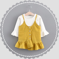 Autumn Baby Infants Girls Kids Long Flare Sleeve T Shirt Tops Princess Strap Spaghetti Ruffles Pleated