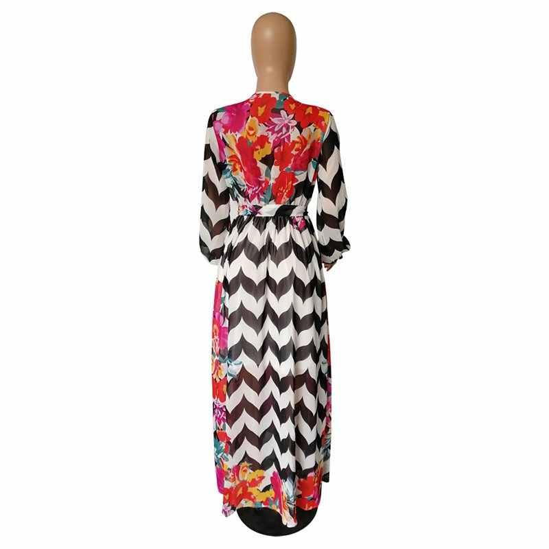 Moda jesień 2019 paskiem kwiatowy Print z długim rękawem szyfonowa sukienka kobiety afryki V Neck panie Casual boho maxi jesień długa sukienka